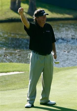 NEWPORT BEACH, CA - MARCH 08:  Joey Sindelar celebrates after making a birdie putt on the 16th hole during the final round of the Toshiba Classic at the Newport Beach Country Club on March 8, 2009 in Newport Beach, California.  (Photo by Jeff Gross/Getty Images)
