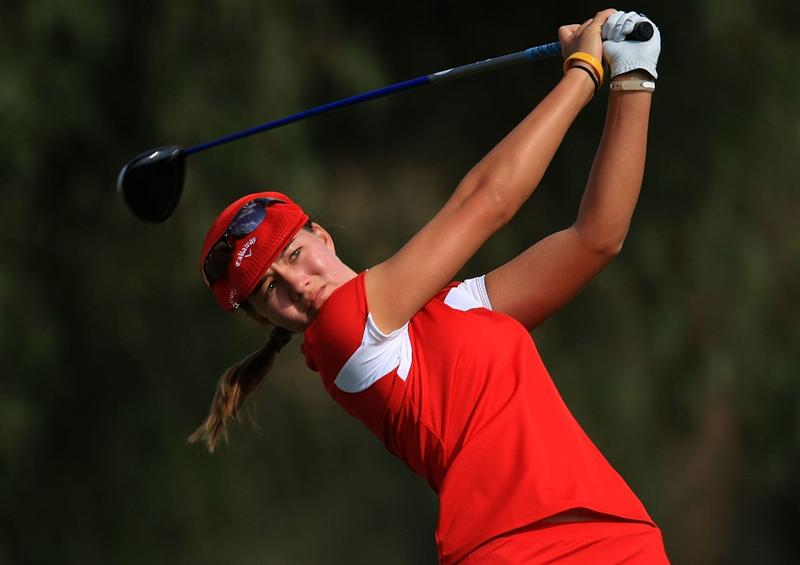 HUIXQUILUCAN, MEXICO - MARCH 21:  Vicky Hurst of the USA hits her tee shot on the 18th hole during the second round of the MasterCard Classic at the BosqueReal Country Club on March 21, 2009 in Huixquiucan, Mexico.  (Photo by Scott Halleran/Getty Images)