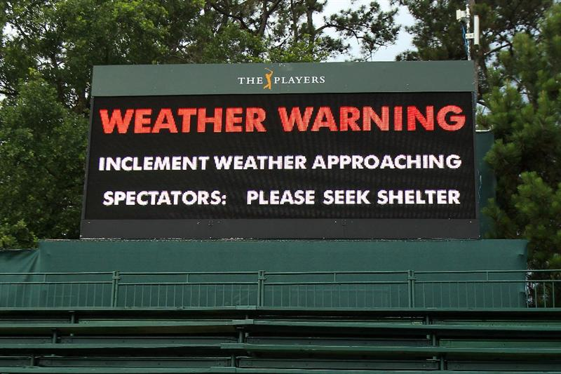 PONTE VEDRA BEACH, FL - MAY 14:  A warning sign is seen after play was suspended due to severe storms during the third round of THE PLAYERS Championship held at THE PLAYERS Stadium course at TPC Sawgrass on May 14, 2011 in Ponte Vedra Beach, Florida.  (Photo by Streeter Lecka/Getty Images)