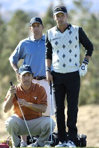 Matthew McConaughey and Jesper Parnevik line up a putt during the fourth round of the Bob Hope Chrysler Classic at The Classic Club, Jan. 21, 2006 in Palm Desert, California.Photo by Marc Feldman/WireImage.com