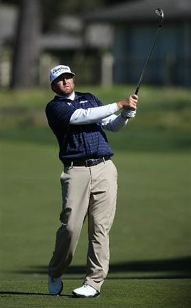 PEBBLE BEACH, CA - FEBRUARY 12:  Steve Marino hits from the fourth fairway at the AT&T Pebble Beach National Pro-Am- Round Three at the Monterey Peninsula country club on February 12, 2011 in Pebble Beach, California.  (Photo by Jed Jacobsohn/Getty Images)