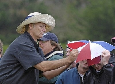 Bill Murray signs an autograph during the second round of the  AT&T Pebble Beach National Pro-Am on Spyglass Hill Golf Course in Pebble Beach, California on February 10, 2006.Photo by Marc Feldman/WireImage.com