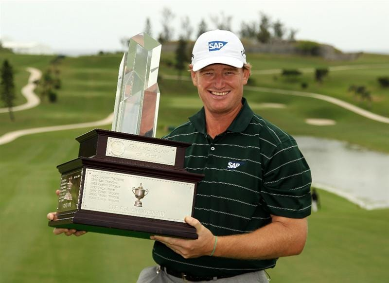 SOUTHAMPTON, BERMUDA - OCTOBER 20:  Ernie Els  of South Africa with the winners trophy after the final round of the 2010 PGA Grand Slam of Golf at The Port Royal Golf Course on October 20, 2010 in Southampton, Bermuda.  (Photo by Ross Kinnaird/Getty Images)