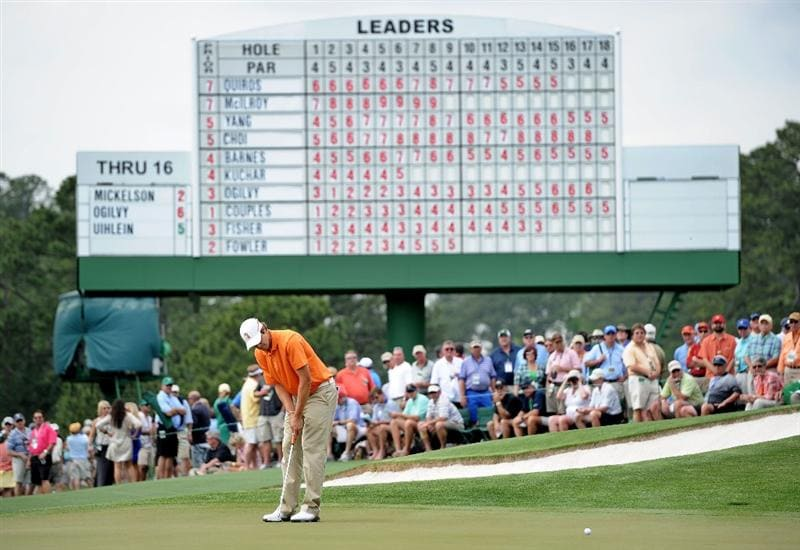 AUGUSTA, GA - APRIL 08:  Amateur Peter Uihlein hits a putt on the 17th green during the second round of the 2011 Masters Tournament at Augusta National Golf Club on April 8, 2011 in Augusta, Georgia.  (Photo by Harry How/Getty Images)