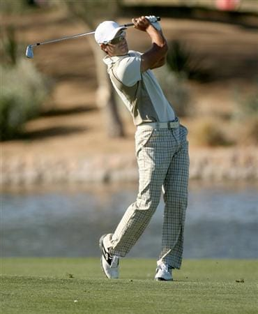 SCOTTSDALE, AZ - JANUARY 30: James Nitties of Australia hits his second shot on the 15th hole during the second round of the FBR Open on January 30, 2009 at TPC Scottsdale in Scottsdale, Arizona. (Photo by Stephen Dunn/Getty Images)