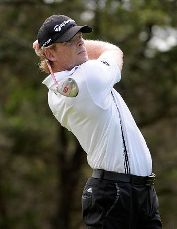 SAN ANTONIO, TX - MAY 15:  James Driscoll tees off the 6th hole during the second round of the Valero Texas Open at the TPC San Antonio on May 15, 2010 in San Antonio, Texas. (Photo by Marc Feldman/Getty Images)