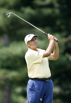 BETHESDA, MD - JULY 4: Rocco Mediate hits his second shot on the 12th hole during the second round of the AT&T National at Congressional Country Club on July 4, 2008 in Bethesda, Maryland. (Photo by Hunter Martin/Getty Images)