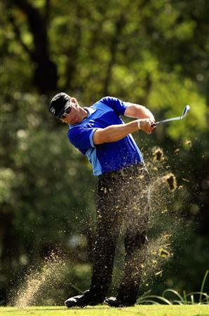 HILTON HEAD ISLAND, SC - APRIL 24:  Ricky Barnes hits his tee shot on the 14th hole during the final round of The Heritage at Harbour Town Golf Links on April 24, 2011 in Hilton Head Island, South Carolina.  (Photo by Streeter Lecka/Getty Images)