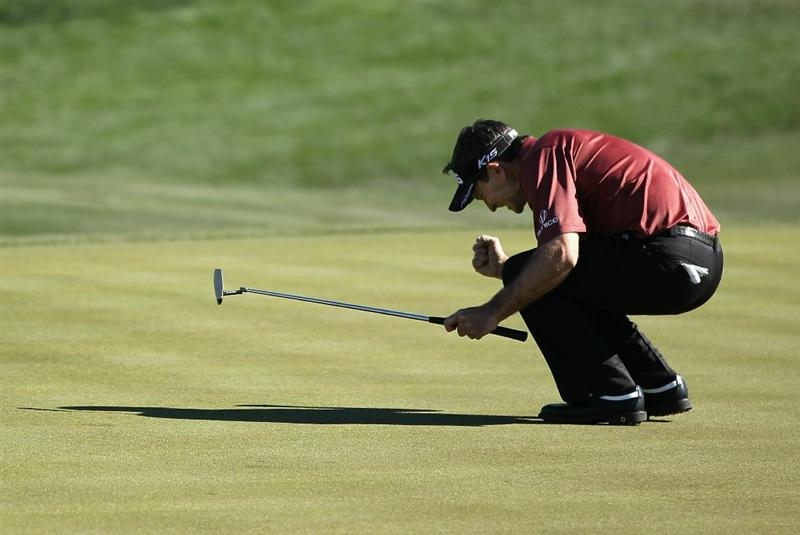 SCOTTSDALE, AZ - FEBRUARY 07:  Mark Wilson celebrates after making a birdie putt on the second playoff hole to win the Waste Management Phoenix Open at TPC Scottsdale on February 7, 2011 in Scottsdale, Arizona.  (Photo by Christian Petersen/Getty Images)