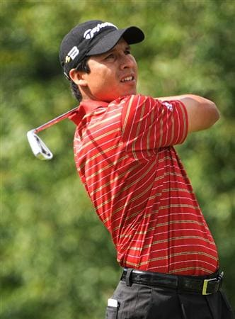 ST. LOUIS - SEPTEMBER 6: Andres Romero tees off the 3rd hole  during the second round of the BMW Championship held at Bellerive Country Club on September 6, 2008 in St. Louis, Missouri. (Photo by Marc Feldman/Getty Images)