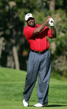PEBBLE BEACH, CA - FEBRUARY 9:  Former NFL player Emmitt Smith hits a tee shot on the 11th hole during the third round of the AT&T Pebble Beach National Pro-Am at the Poppy Hills Golf Course February 9, 2008 in Pebble Beach, California.  (Photo by Jeff Gross/Getty Images)