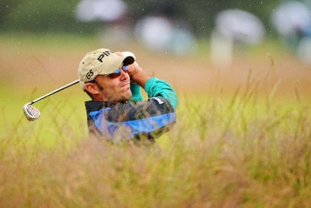 CARNOUSTIE, UNITED KINGDOM - JULY 18:  Gregory Havret of France watches a shot during a practice round during previews to The 136th Open Championship at the Carnoustie Golf Club on July 18, 2007 in Carnoustie, Scotland.  (Photo by Andrew Redington/Getty Images)