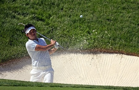 DUBLIN, OH - MAY 29:  Ryuji Imada hits his fourth shot on the 17th hole during the first round of The Memorial on May 29, 2008 at the Muirfield Village Golf Club in Dublin, Ohio.  (Photo by Andy Lyons/Getty Images)