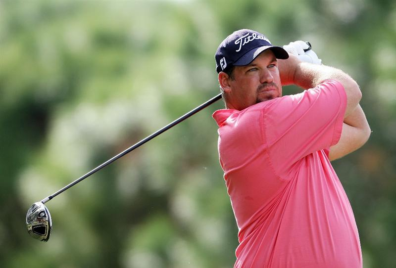 WEST PALM BEACH, FL - DECEMBER 07:  Brendon de Jonge hits a tee shot during the final round of the 2009 PGA TOUR Qualifying Tournament at Bear Lakes Country Club on December 7, 2009 in West Palm Beach, Florida.  (Photo by Doug Benc/Getty Images)