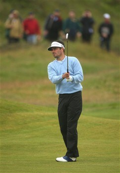 SOUTHPORT, UNITED KINGDOM - JULY 18:  Jean van de Velde of France plays an approach on the 14th during the second round of the 137th Open Championship on July 18, 2008 at Royal Birkdale Golf Club, Southport, England.  (Photo by Warren Little/Getty Images)
