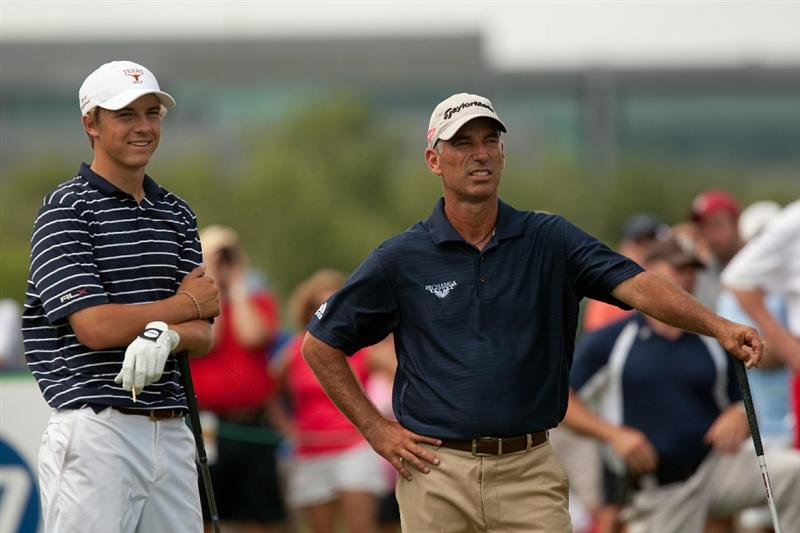 IRVING, TX - MAY 23: Jordan Spieth talks with playing partner Corey Pavin during the fourth round of the HP Byron Nelson Championship at TPC Four Seasons Resort Las Colinas on May 23, 2010 in Irving, Texas. (Photo by Darren Carroll/Getty Images)