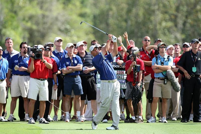 ORLANDO, FL - MARCH 16:  Chris DiMarco of the USA and  the Lake Nona Team at the 17th hole during the first day of the 2009 Tavistock Cup at the Lake Nona Golf and Country Club, on March 16, 2009 in Orlando, Florida  (Photo by David Cannon/Getty Images)