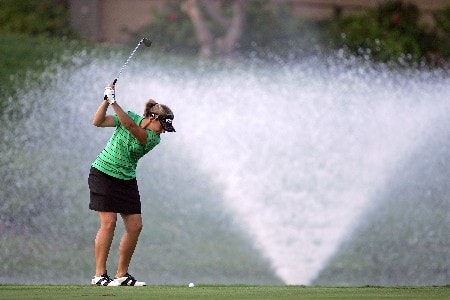 KAPOLEI, HI - FEBRUARY 22:  Angela Stanford hits her third shot on the 5th shot during the second round of  the Fields Open on February 22, 2008  at the Ko Olina Golf Club in Kapolei, Hawaii.  (Photo by Andy Lyons/Getty Images)