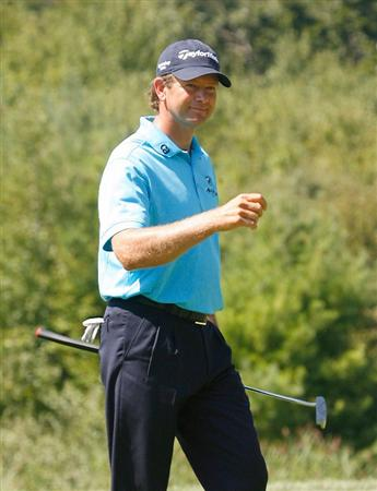 NORTON, MA - SEPTEMBER 5:  Retief Goosen reacts during the second round of the Deutsche Bank Championship held at TPC Boston on September 5, 2009 in Norton, Massachusetts. (Photo by Jim Rogash/Getty Images)