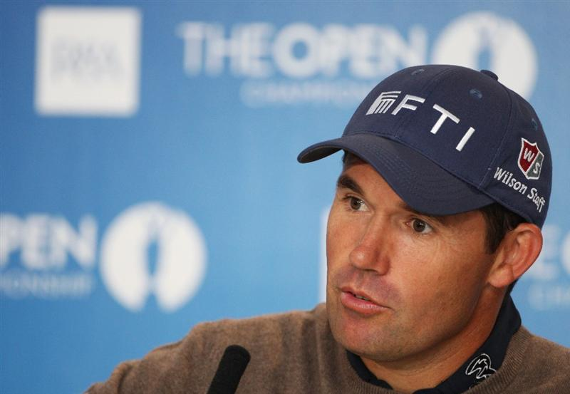 TURNBERRY, SCOTLAND - JULY 14:  Padraig Harrington of Ireland listens to questions from the media at a press conference during a practice round prior to the 138th Open Championship on the Ailsa Course, Turnberry Golf Club on July 14, 2009 in Turnberry, Scotland.  (Photo by Andrew Redington/Getty Images)
