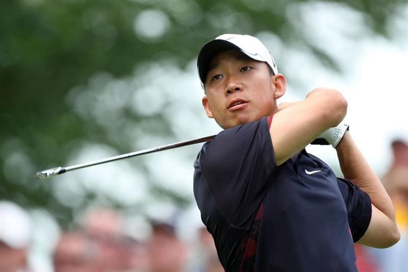 CHASKA, MN - AUGUST 13:  Anthony Kim plays his tee shot on the fourth hole during the first round of the 91st PGA Championship at Hazeltine National Golf Club on August 13, 2009 in Chaska, Minnesota.  (Photo by David Cannon/Getty Images)