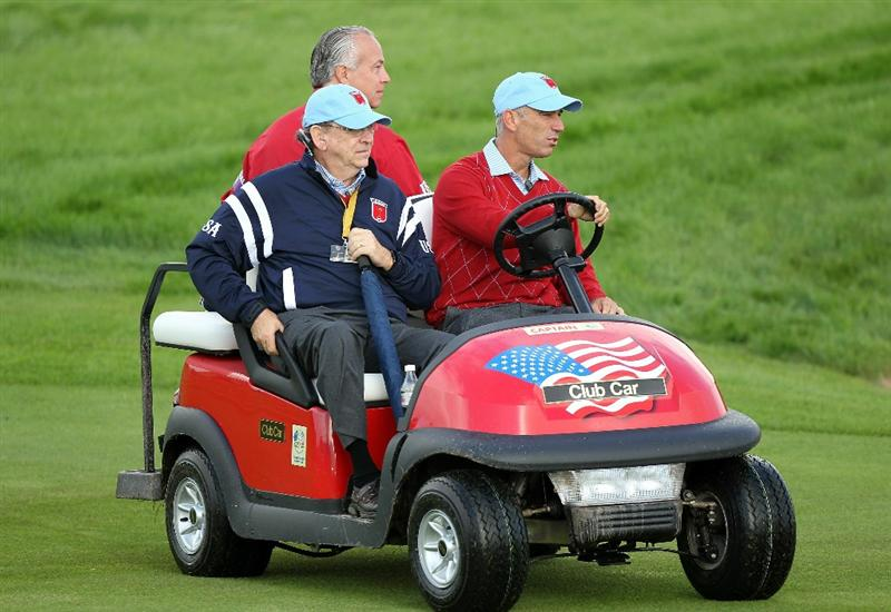 NEWPORT, WALES - SEPTEMBER 28:  USA Team Captain Corey Pavin drives a buggy during a practice round prior to the 2010 Ryder Cup at the Celtic Manor Resort on September 28, 2010 in Newport, Wales. (Photo by Andy Lyons/Getty Images)
