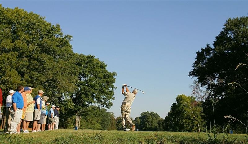 MADISON, MS - SEPTEMBER 30: John Daly hits a drive during the first round of the Viking Classic held at Annandale Golf Club on September 30, 2010 in Madison, Mississippi.  (Photo by Michael Cohen/Getty Images)