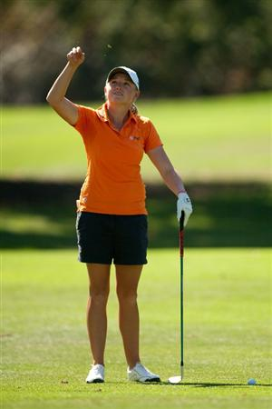 DANVILLE, CA - OCTOBER 15: Stacy Lewis tests the wind prior to hitting an approach shot during the second round of the CVS/Pharmacy LPGA Challenge at Blackhawk Country Club on October 15, 2010 in Danville, California. (Photo by Darren Carroll/Getty Images)