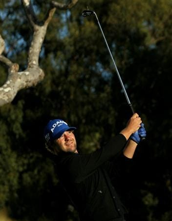 PACIFIC PALISADES, CA - FEBRUARY 17:  Ryan Moore hits his tee shot on the 16th hole during round one of the Northern Trust Open at Riviera Counrty Club on February 17, 2011 in Pacific Palisades, California.  (Photo by Stephen Dunn/Getty Images)