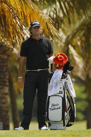 RIO GRANDE, PR - MARCH 11: Chris Tidland stands by his golf bag during the second round of the Puerto Rico Open presented by seepuertorico.com at Trump International Golf Club on March 11, 2011 in Rio Grande, Puerto Rico.  (Photo by Michael Cohen/Getty Images)
