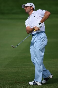 DUBAI, UNITED ARAB EMIRATES - FEBRUARY 3:  Sergio Garcia of Spain watches his second shot on the fifth hole during the final round of the Dubai Desert Classic, on the Majilis Course at the Emirates Golf Club, on February 3, 2008 in Dubai, United Arab Emirates.  (Photo by Andrew Redington/Getty Images)