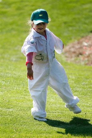 AUGUSTA, GA - APRIL 08:  Molly O'Hair, daughter of Sean O'Hair throws a golf ball during the Par 3 Contest prior to the 2009 Masters Tournament at Augusta National Golf Club on April 8, 2009 in Augusta, Georgia.  (Photo by Jamie Squire/Getty Images)