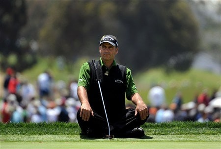SAN DIEGO - JUNE 12:  Rocco Mediate sits on the sixth green during the first round of the 108th U.S. Open at the Torrey Pines Golf Course (South Course) on June 12, 2008 in San Diego, California.  (Photo by Harry How/Getty Images)