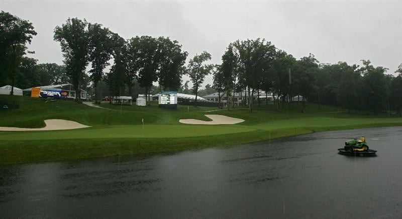 SILVIS, IL - JULY 10:  A view of the 18th green as storms cause the suspension of play during the second round of the John Deere Classic at TPC Deere Run held on July 10, 2009 in Silvis, Illinois.  (Photo by Michael Cohen/Getty Images)