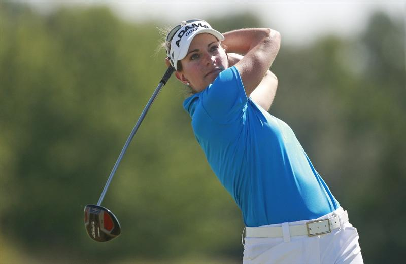 PRATTVILLE, AL - OCTOBER 3:   Brittany Lang tees off on the 10th hole during third round play in the Navistar LPGA Classic at the Robert Trent Jones Golf Trail at Capitol Hill on October 3, 2009 in  Prattville, Alabama.  (Photo by Dave Martin/Getty Images)