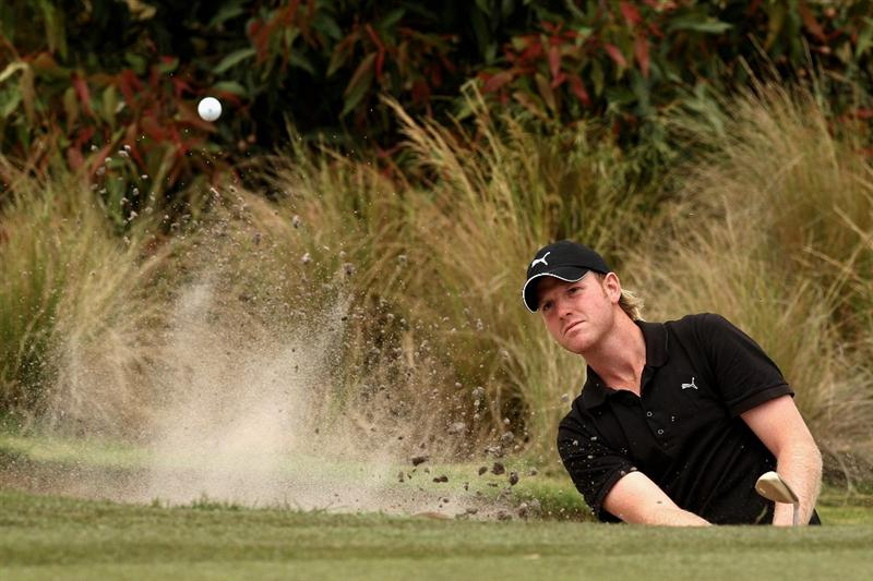 MELBOURNE, AUSTRALIA - NOVEMBER 29:  Daniel Wardrop of England plays out of the bunker on the sixth hole during the third round of the 2008 Australian Masters at Huntingdale Golf Club on November 29, 2008 in Melbourne, Australia  (Photo by Quinn Rooney/Getty Images)