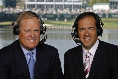 NBC commentators Johnny Miller and Dan Hicks during the third round of THE PLAYERS Championship on the Stadium Course at TPC Sawgrass in Ponte Vedra Beach, Florida, on March 25, 2006.Photo by: Caryn Levy/PGA TOUR