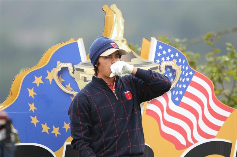 NEWPORT, WALES - SEPTEMBER 30:  Rickie Fowler of the USA looks on during a practice round prior to the 2010 Ryder Cup at the Celtic Manor Resort on September 30, 2010 in Newport, Wales. (Photo by Jamie Squire/Getty Images)