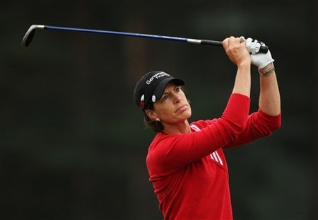 SUNNINGDALE, UNITED KINGDOM - JULY 31:  Juli Inkster of the USA plays her second shot into the second green during the first round of the 2008 Ricoh Women's British Open held on the Old Course at Sunningdale Golf Club on July 31, 2008 in Sunningdale, England.  (Photo by Warren Little/Getty Images)