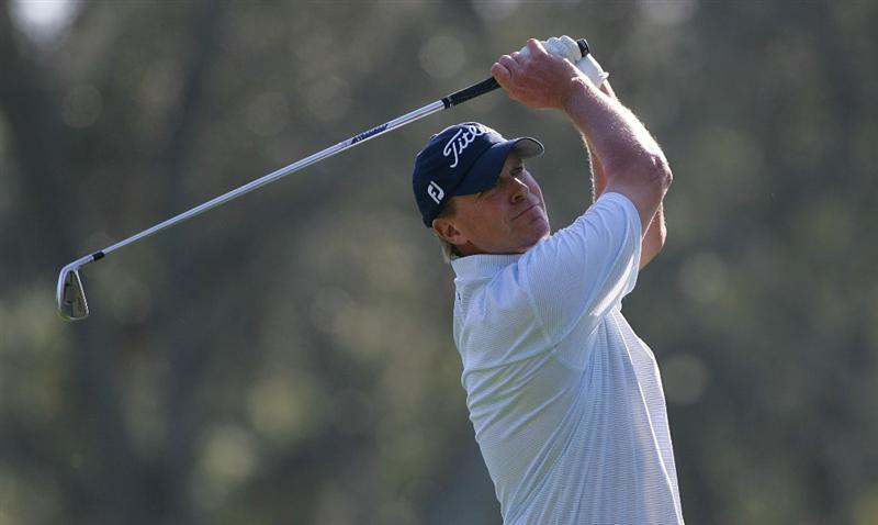 PALM HARBOR, FL - MARCH 19:  Steve Stricker hits a shot during the second round of the Transitions Championship at the Innisbrook Resort and Golf Club held on March 19, 2010 in Palm Harbor, Florida.  (Photo by Michael Cohen/Getty Images)