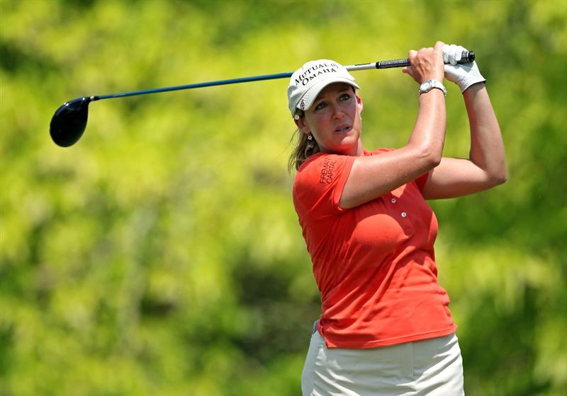 SINGAPORE - FEBRUARY 26:  Cristie Kerr of the USA hits her tee-shot on the sixth hole during the second round of the HSBC Women's Champions at the Tanah Merah Country Club on February 26, 2010 in Singapore.  (Photo by Andrew Redington/Getty Images)