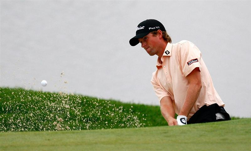 JERSEY CITY, NJ - AUGUST 28:  Webb Simpson chips out of a sand trap onto the fourth green during round two of The Barclays on August 28, 2009 at Liberty National in Jersey City, New Jersey.  (Photo by Kevin C. Cox/Getty Images)