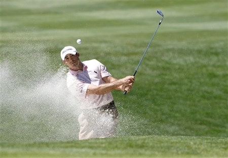 RENO, NV - AUGUST 2: Jonathan Byrd chips out of a bunker on the 9th hole  during the third round of the Legends Reno-Tahoe Open at the Montreux Golf & Country Club on August 2, 2008 in Reno, Nevada. (Photo by Max Morse/Getty Images)