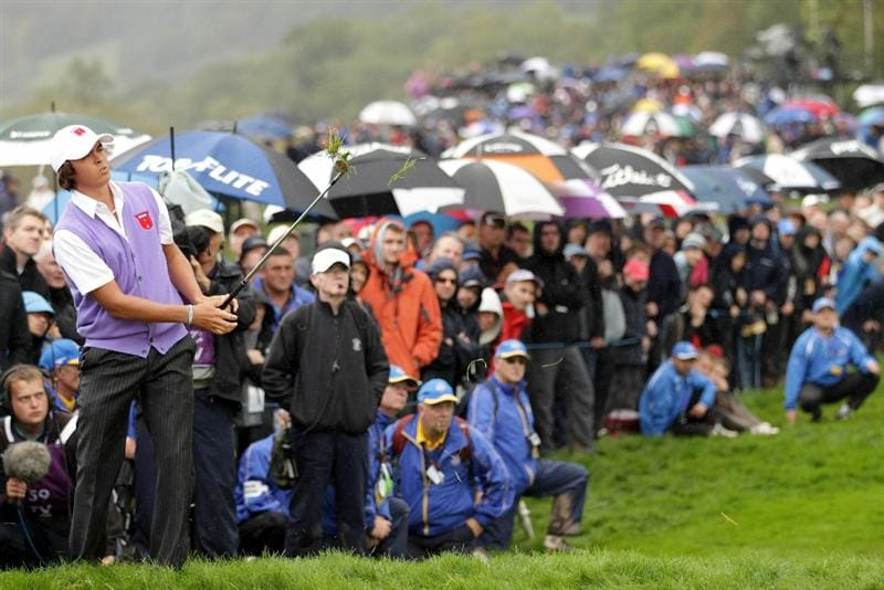 NEWPORT, WALES - OCTOBER 02:  Rickie Fowler of the USA hits from the rough during the rescheduled Afternoon Foursome Matches during the 2010 Ryder Cup at the Celtic Manor Resort on October 2, 2010 in Newport, Wales. (Photo by Andrew Redington/Getty Images)