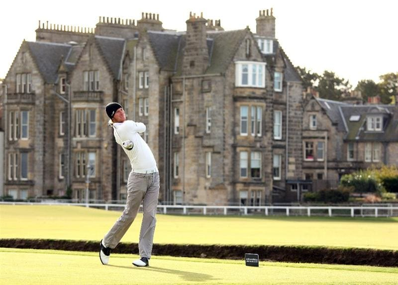ST ANDREWS, SCOTLAND - OCTOBER 01:  Chris Wood of England hits his tee-shot on the second hole during the first round of The Alfred Dunhill Links Championship at The Old Course on October 1, 2009 in St. Andrews, Scotland.  (Photo by Andrew Redington/Getty Images)