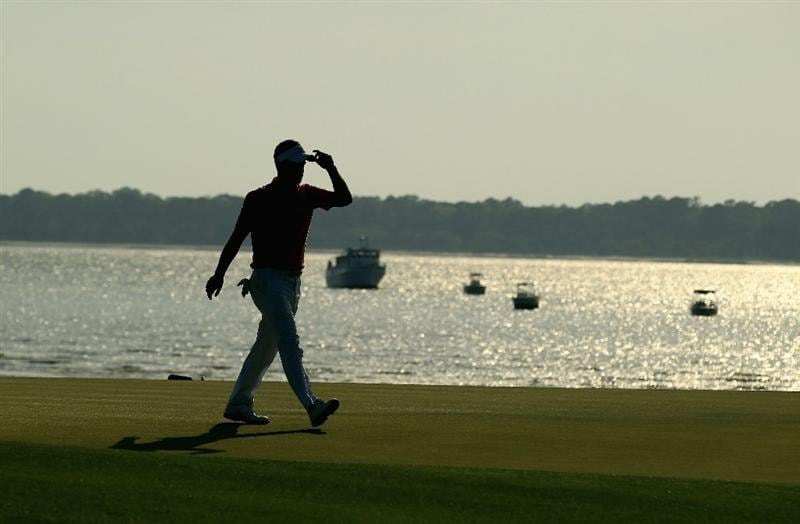 HILTON HEAD ISLAND, SC - APRIL 23:  Luke Donald of England acknowledges the crowd as he walks off the 18th green during the third round of The Heritage at Harbour Town Golf Links on April 23, 2011 in Hilton Head Island, South Carolina.  (Photo by Streeter Lecka/Getty Images)