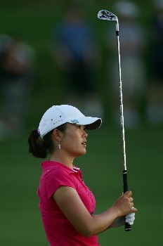 KAPOLEI, HI - FEBRUARY 24:  Angela Park watches her second shot on the 18th hole during the third round of the Fields Open at Ko Olina Golf Club on February 24, 2007 in Kapolei, Hawaii.  (Photo by Harry How/Getty Images)