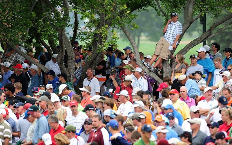 CHASKA, MN - AUGUST 16:  Fans look on during the final round of the 91st PGA Championship at Hazeltine National Golf Club on August 16, 2009 in Chaska, Minnesota.  (Photo by Stuart Franklin/Getty Images)