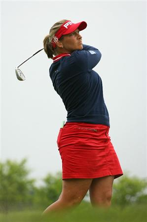 GLADSTONE, NJ - MAY 23: Angela Stanford hits her tee shot on the 16th hole during the final round of the Sybase Match Play Championship at Hamilton Farm Golf Club on May 23, 2010 in Gladstone, New Jersey. (Photo by Hunter Martin/Getty Images)