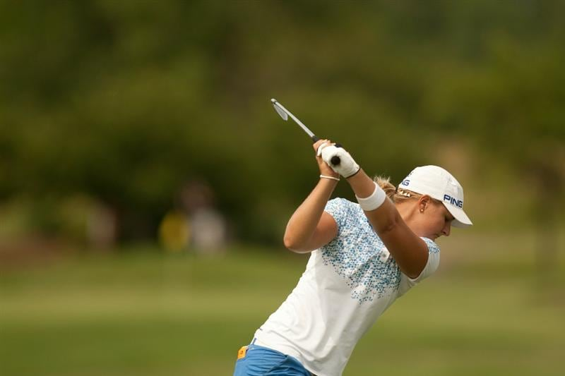 SPRINGFIELD, IL - JUNE 10: Anna Nordqvist of Sweden hits a tee shot during the first round of the LPGA State Farm Classic at Panther Creek Country Club on June 10, 2010 in Springfield, Illinois. (Photo by Darren Carroll/Getty Images)